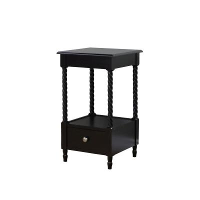 Black Storage Side Table