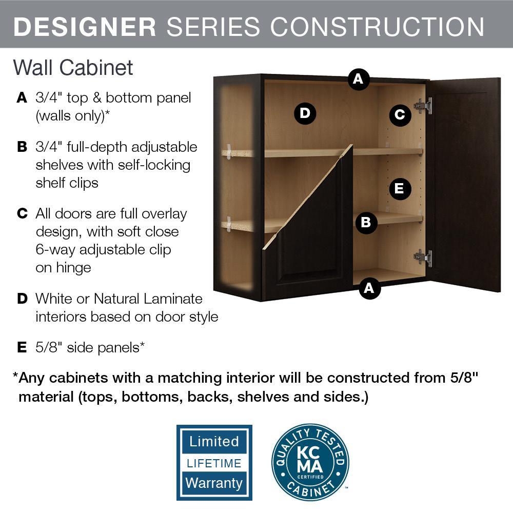 Hampton Bay Designer Series Gretna Assembled 30x18x15 in. Deep Wall Bridge  Kitchen Cabinet in Espresso