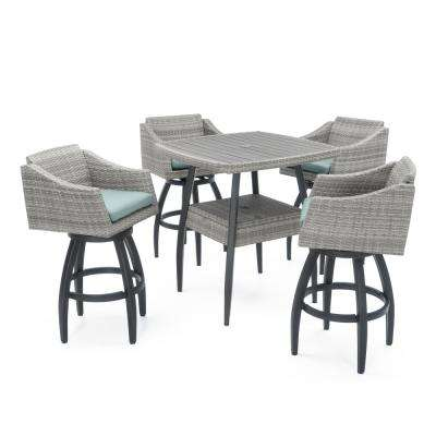 Cannes 5-Piece Wicker Outdoor Bar Height Dining Set with Sunbrella Spa Blue Cushions