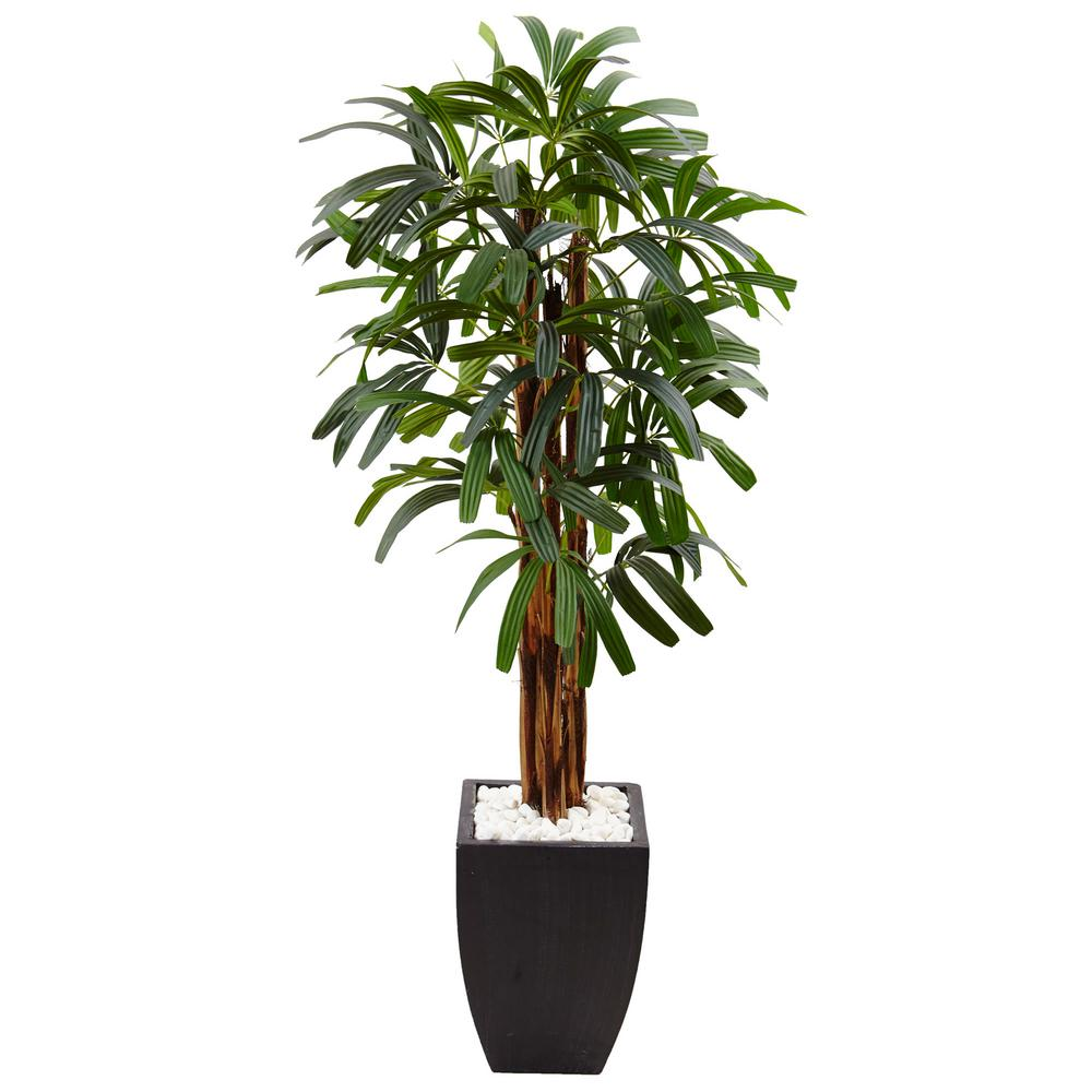 Nearly Natural Indoor Raphis Palm Artificial Tree In Black