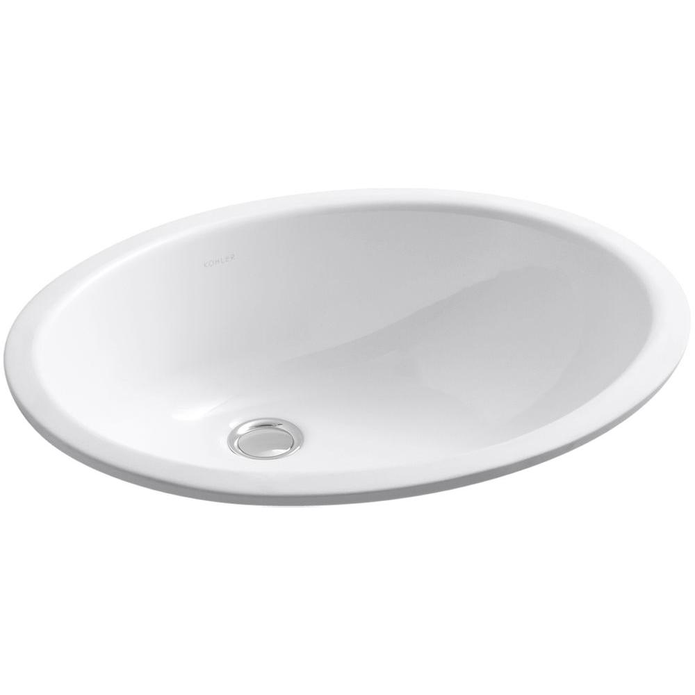KOHLER Caxton Vitreous China Undermount Bathroom Sink In White With  Overflow Drain