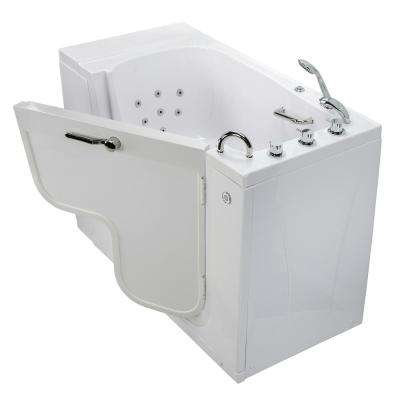 Wheelchair Transfer 52 in. Acrylic Walk-In Whirlpool Bathtub in White with Faucet Set, Heated Seat, RHS 2 in. Dual Drain