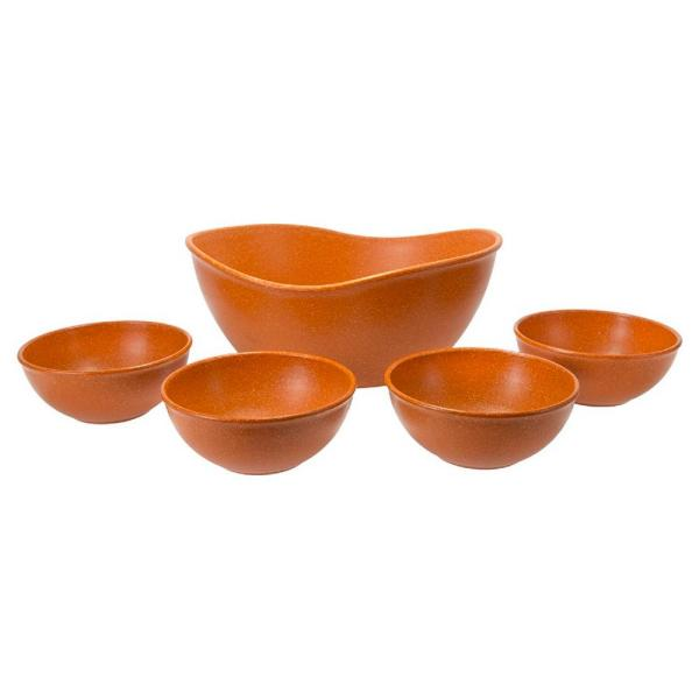 undefined EVO Sustainable Goods Orange Eco-Friendly Wood-Plastic Composite Serving Bowl Set (Set of 5)