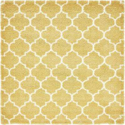 marrakesh shag yellow 8 ft x 8 ft square area rug