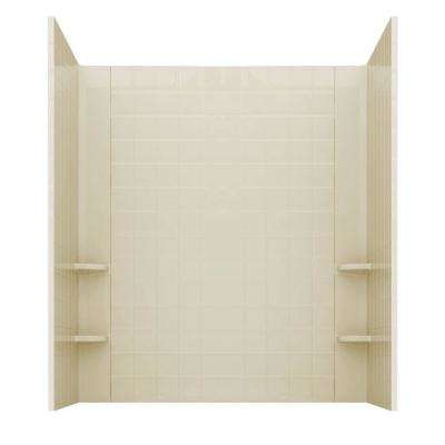 Rampart 60 in. x 60 in. 4-Piece Easy Up Adhesive Alcove Tub Surround with 4 in. Square Tiling in Biscuit