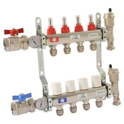 1 in. NPT Inlet x 1/2 in. Stainless Steel Push-Fit 4-Outlet Radiant Heating Manifold