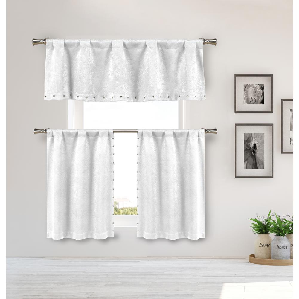 Solid White Polyester Room Darkening Rod Pocket Window Curtain 55 in. W x 16 in. L (3-Piece Set)