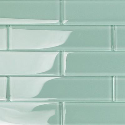 Contempo Light Green 2 in. x 8 in. x 8mm Polished Glass Floor and Wall Tile (36 pieces 4 sq.ft./Box)