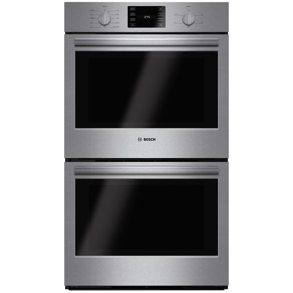 Bosch 500 Series 30 in. Double Electric Wall Oven with European Convection and Self Cleaning in Stainless Steel