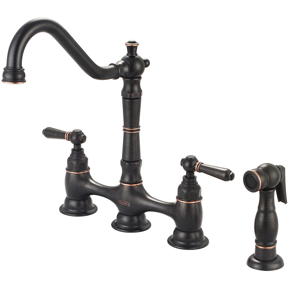 Americana 2-Handle Bridge Kitchen Faucet with Side Sprayer in Moroccan Bronze