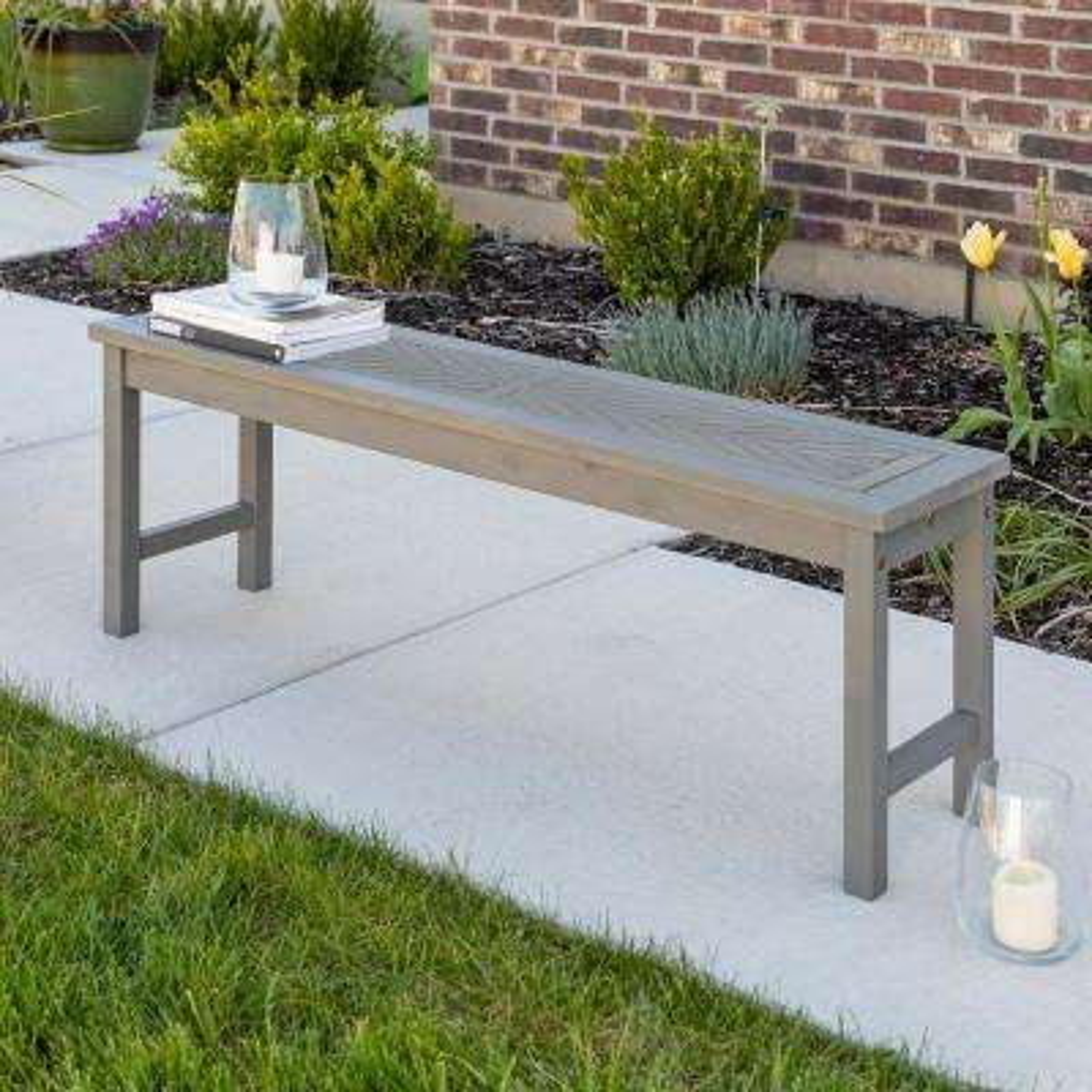 Grey Wash Acacia Wood Modern Outdoor Dining Bench