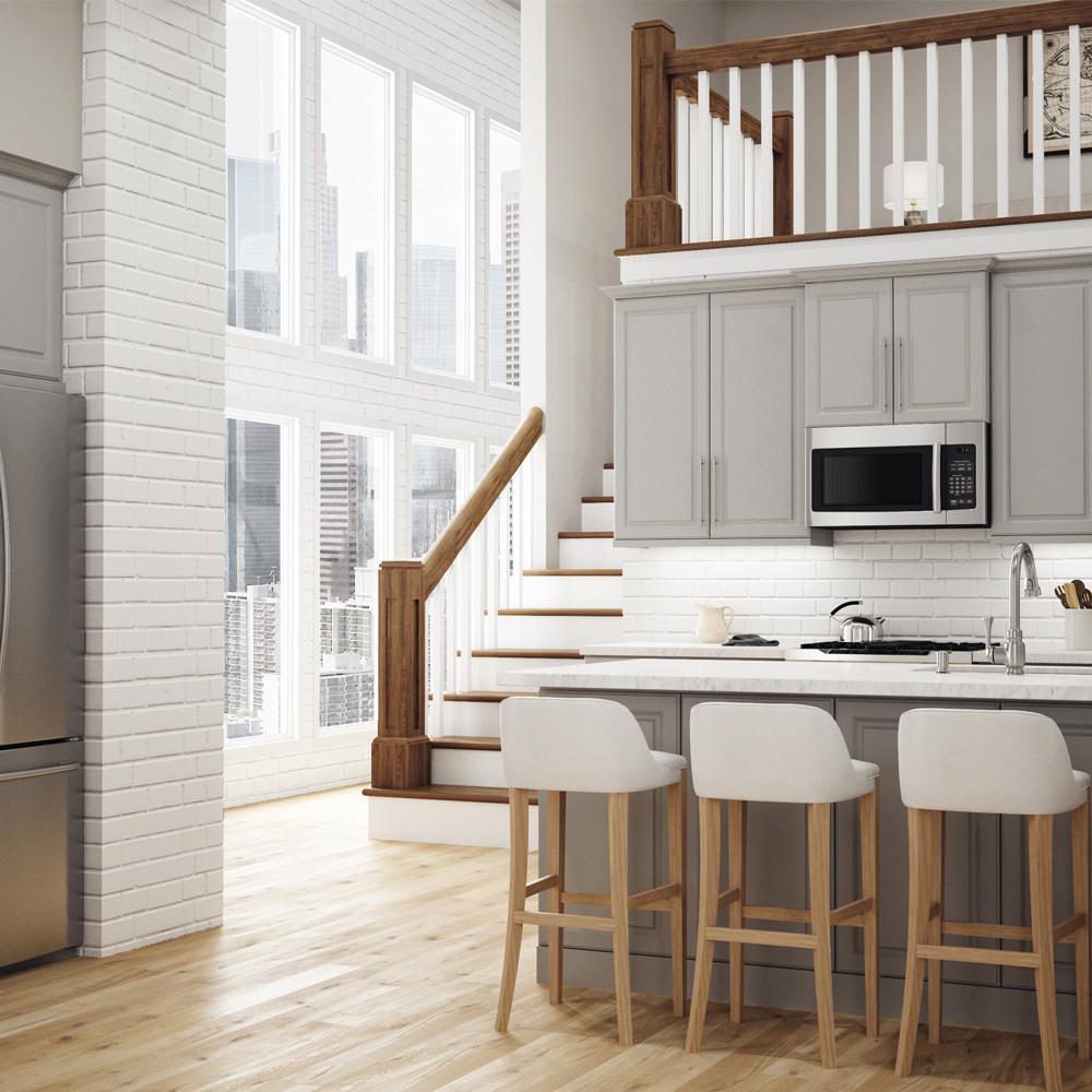 Designer Series Elgin Assembled 30x34.5x21 in. Full Door Height Bathroom Vanity Base Cabinet in Heron Gray