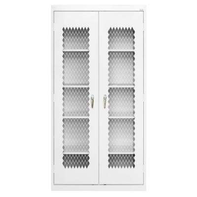 72 in. H x 36 in. W x 24 in. D Steel Freestanding Expanded Metal Front Cabinet in White