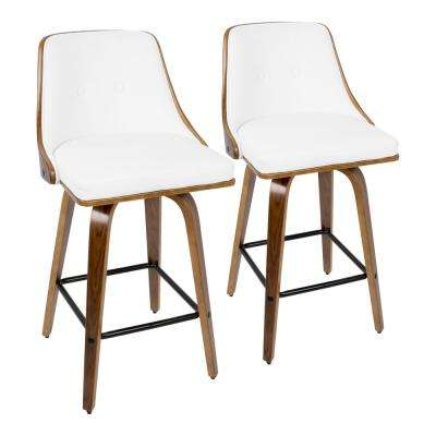 Gianna 26 in. Walnut and White Faux Leather Counter Stool (Set of 2)