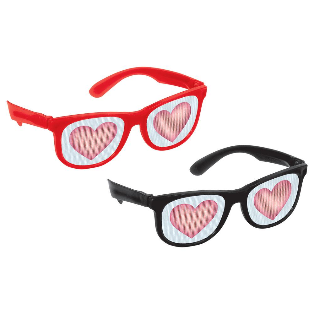 ee794e0cf51 Amscan Plastic Heart Printed Valentine s Day Glasses (10-Count ...