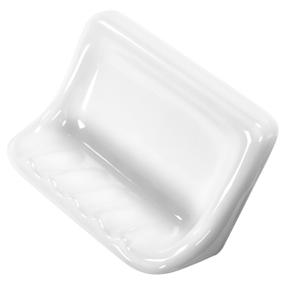 Finesse 3 in. x 6 in. x 4 in. Glazed Ceramic Soap Dish in Bright White
