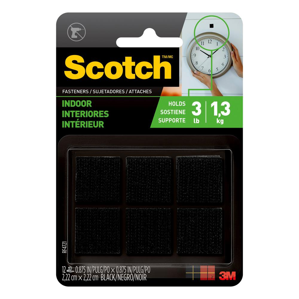 Scotch 7/8 in. x 7/8 in. Black Indoor Fasteners (12 Sets-Pack)