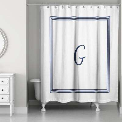 71 in. W x 74 in. L Navy Blue and White Letter G Monogrammed Fabric Shower Curtain
