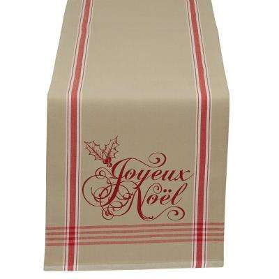 14 in. x 72 in. Chino Joyeux Noel Printed Cotton Table Runner