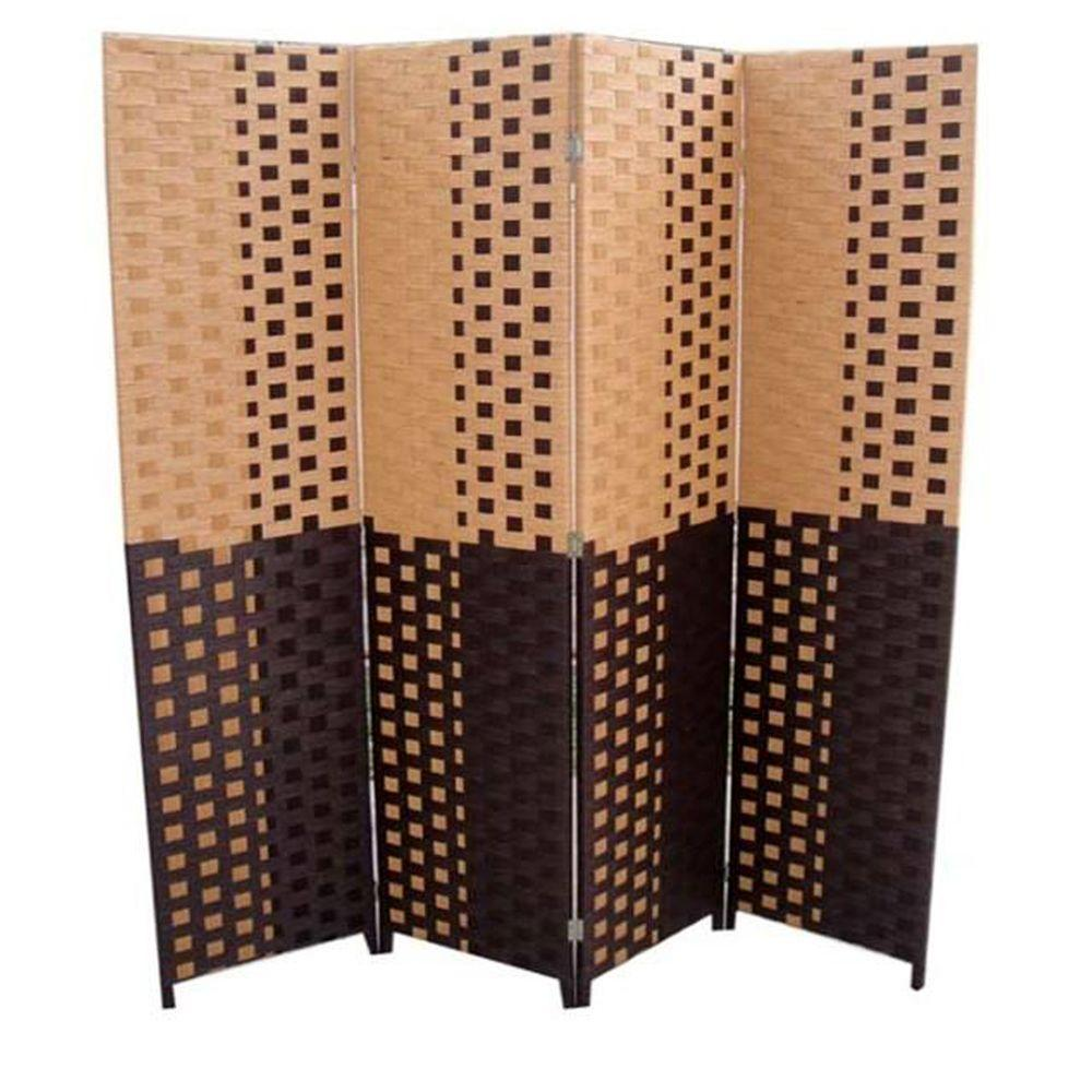 ORE International 59 ft Espresso 4 Panel Room Divider FW0676UA
