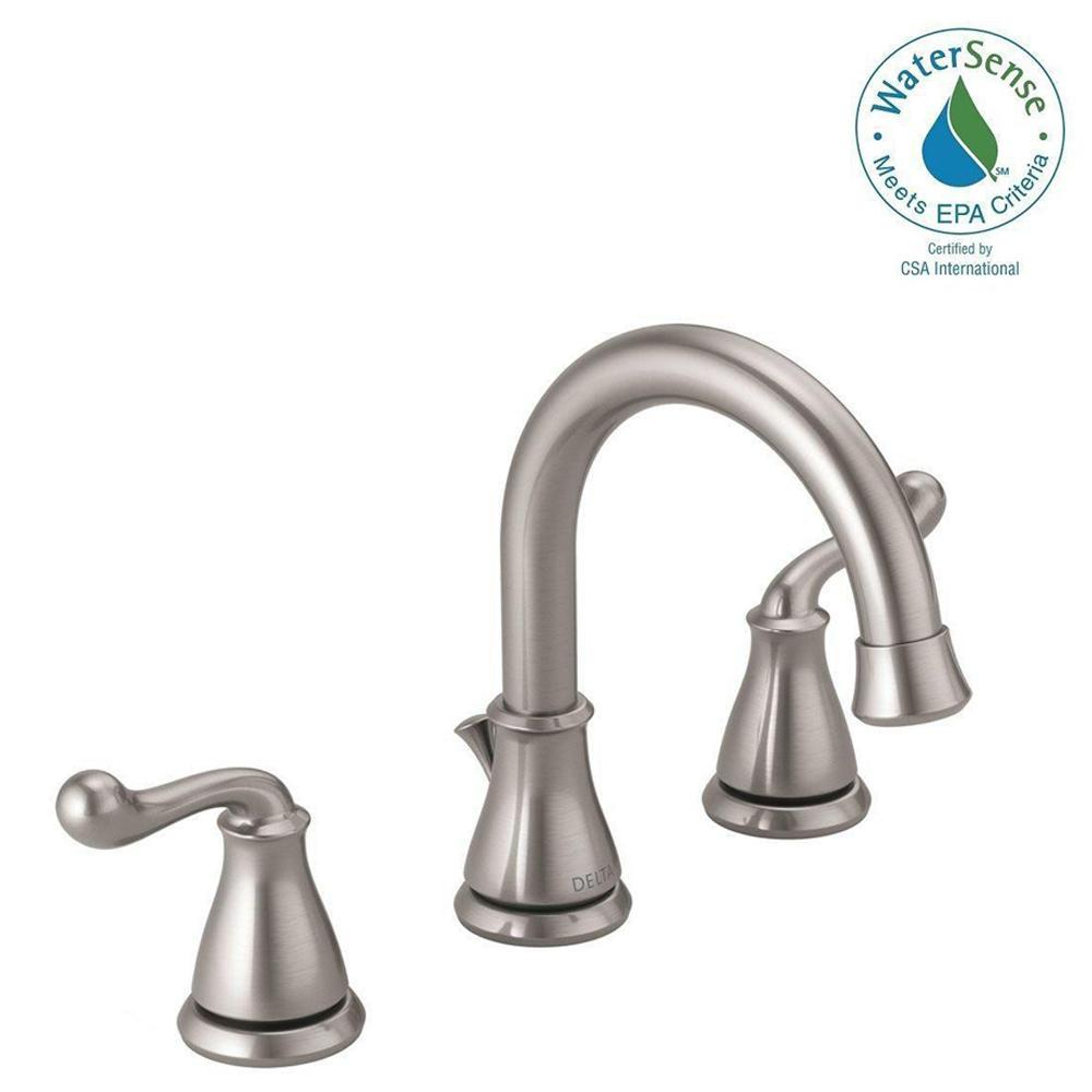 Delta southlake 8 in widespread 2 handle bathroom faucet in brushed nickel 35755lf ss the for Delta widespread bathroom faucet