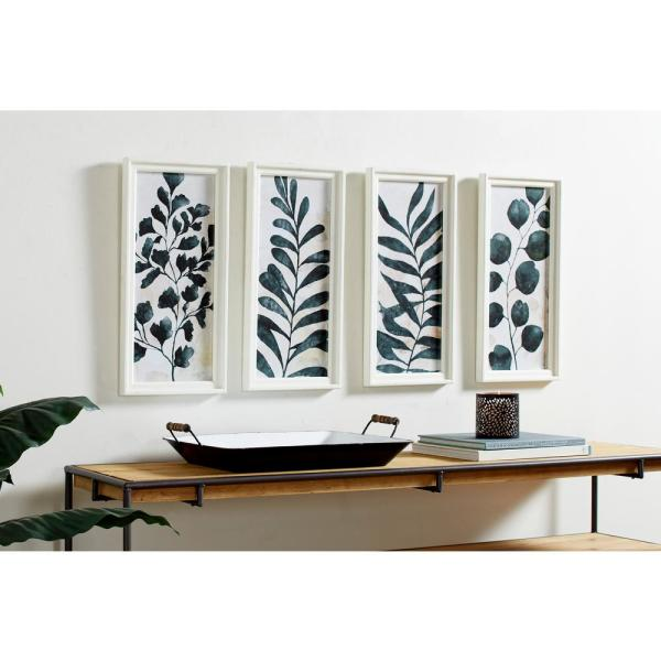 Rectangular White And Dark Green Watercolor Plant Illustrations Wooden Wall Art Set Of 4