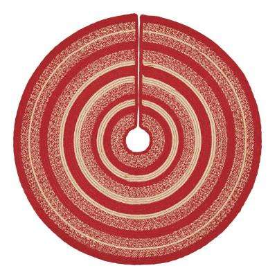 50 in. Cunningham Cherry Red Holiday Christmas Decor Jute Tree Skirt