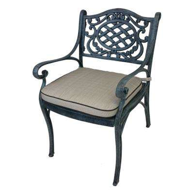 Mississippi Aluminum Outdoor Dining Chair with Oatmeal Cushion