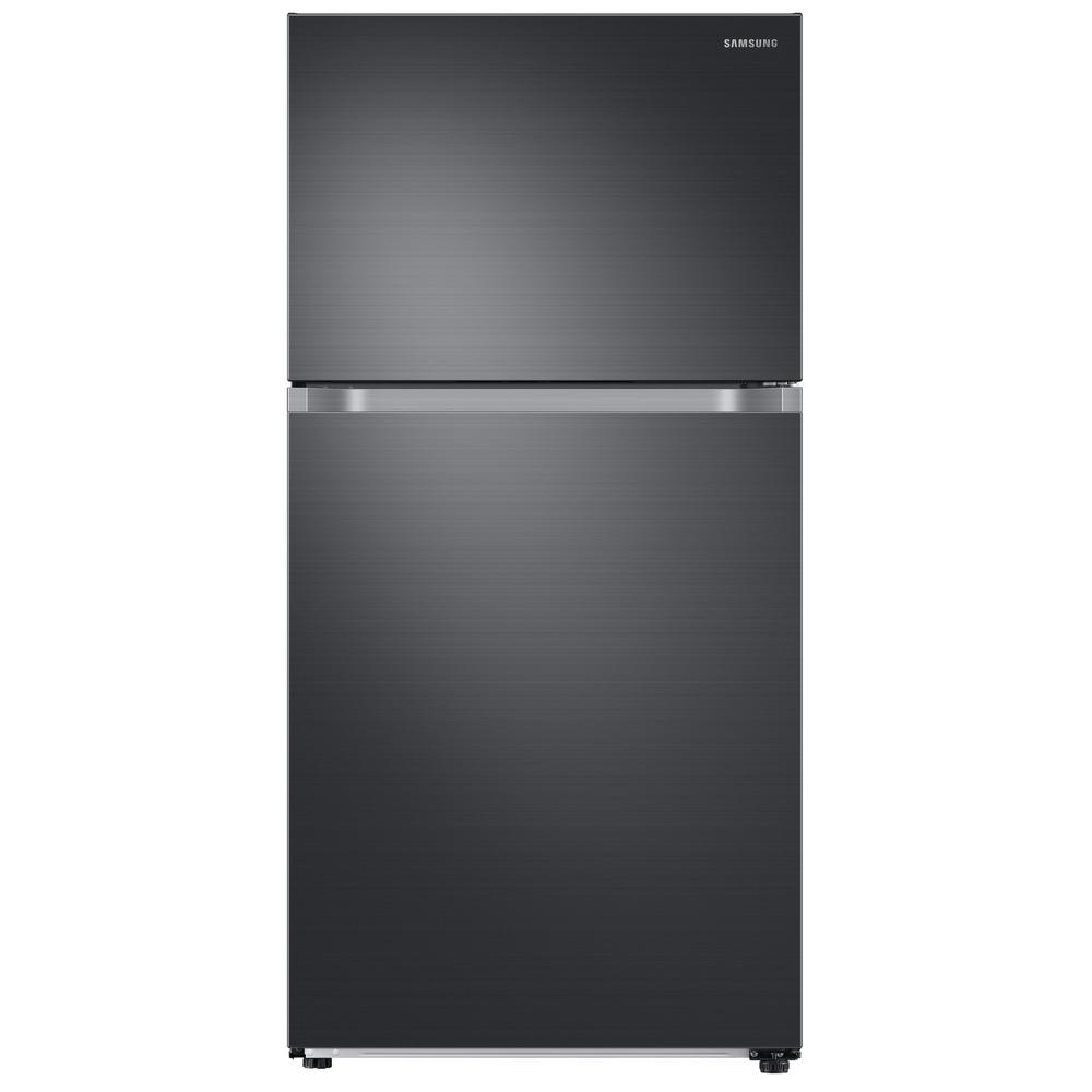 Samsung 21.1 cu. ft. Top Freezer Refrigerator with FlexZone in Fingerprint Resistant Black Stainless, Energy Star This Samsung Top Freezer Refrigerator truly is one of a kind and unlike any other. Featuring FlexZone, which is a versatile top door that can be a fridge or freezer, maximizing fresh food storage space. This allows you to expand your refrigerator space to chill your favorite beverages, snacks or party food. Unless you simply keep it as a freezer, but this is completely up to you. It also has Twin Cooling Plus, which maintains the humidity level of the refrigerator keeping foods fresher, longer. For example, dry freezer conditions for less freezer burn and better tasting foods! Ice maker available in model # RT18M6215SG. Color: Fingerprint Resistant Black Stainless.