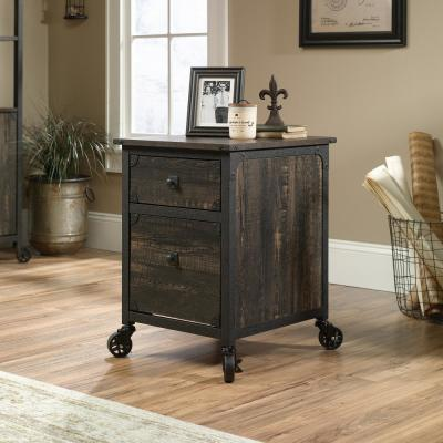 Steel River Carbon Oak File Cabinet with Casters