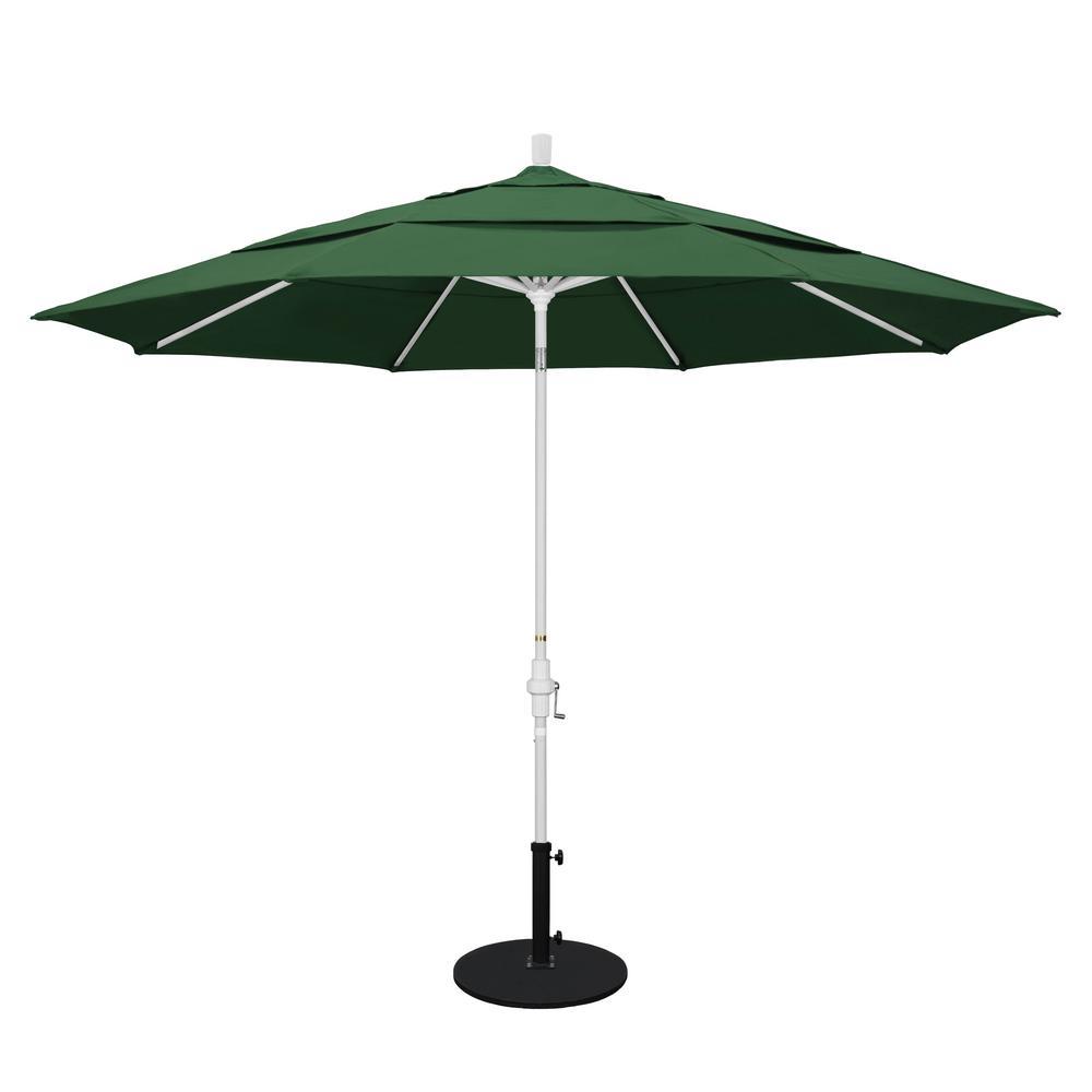 11 ft. Aluminum Collar Tilt Double Vented Patio Umbrella in Hunter
