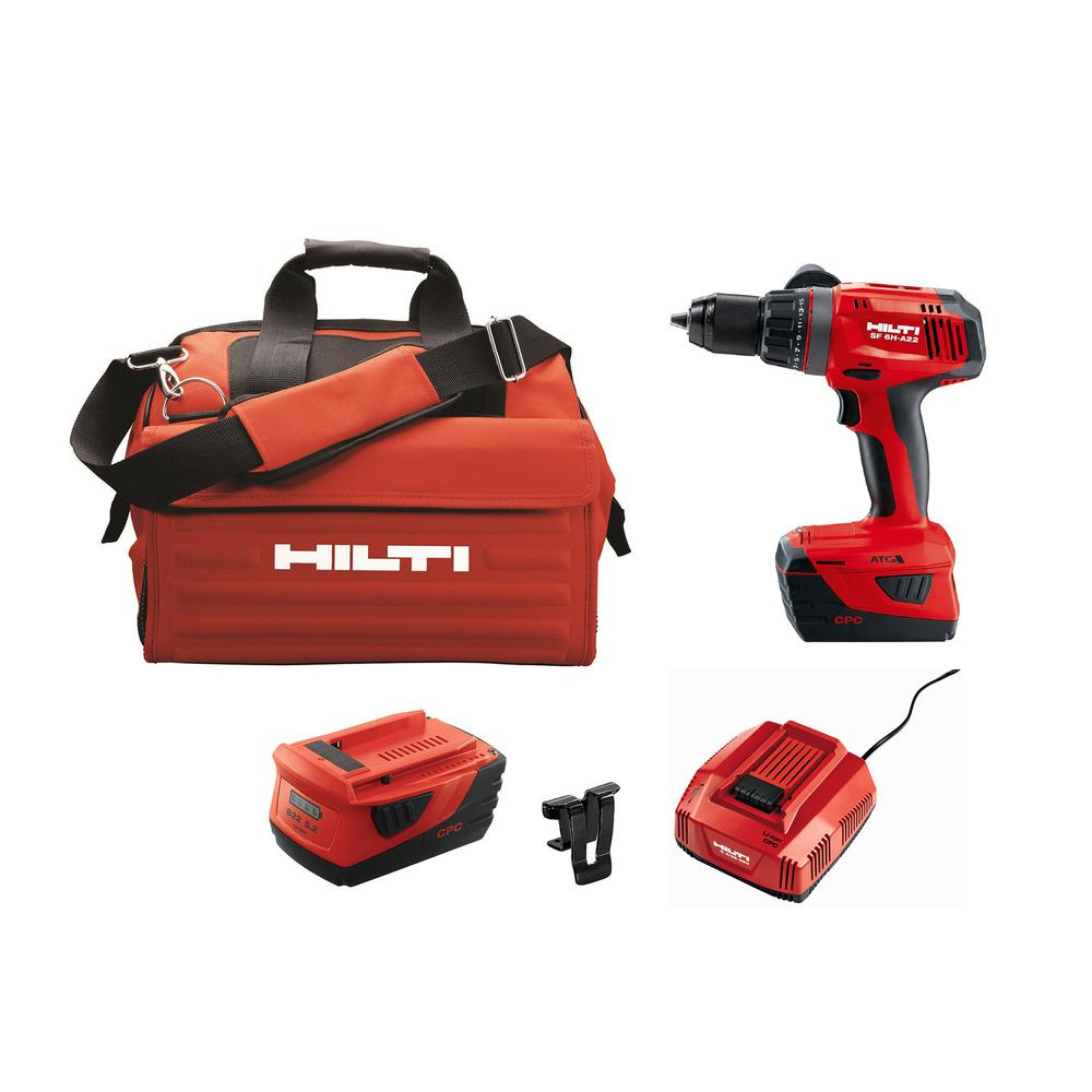 Hilti 22-Volt Lithium-Ion 1/2 in. Cordless Hammer Drill Driver SF 6H with DC Car Charger