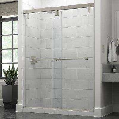60 in. x 71-1/2 in. Mod Soft-Close Frameless Sliding Shower Door in Nickel with 3/8 in. Clear Glass and Lyndall Handles