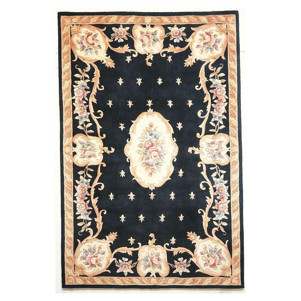 Kas Rugs Classy Aubusson Black 2 ft. 6 in. x 4 ft. 2 in. Area Rug