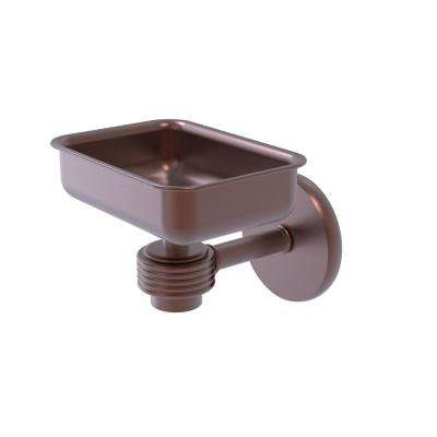 Satellite Orbit One Wall Mounted Soap Dish with Groovy Accents in Antique Copper