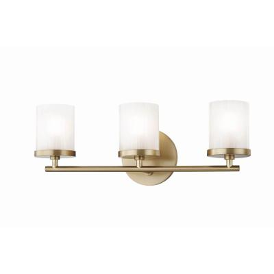 Ryan 3-Light Aged Brass Bath Light with Clear Frosted Glass Shade