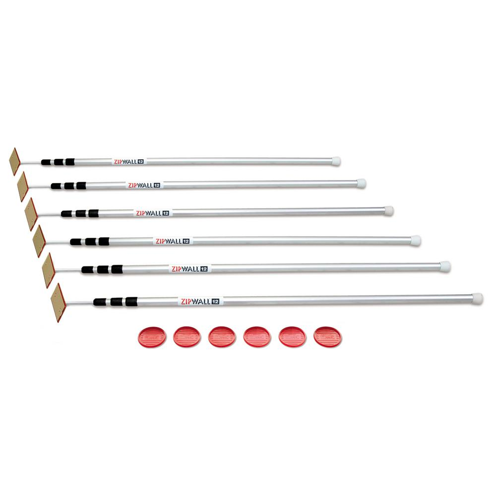 ZipWall 12 ft. ZipWall 12 SLP6 Spring-Loaded Poles for Dust Barriers, 6-Pack