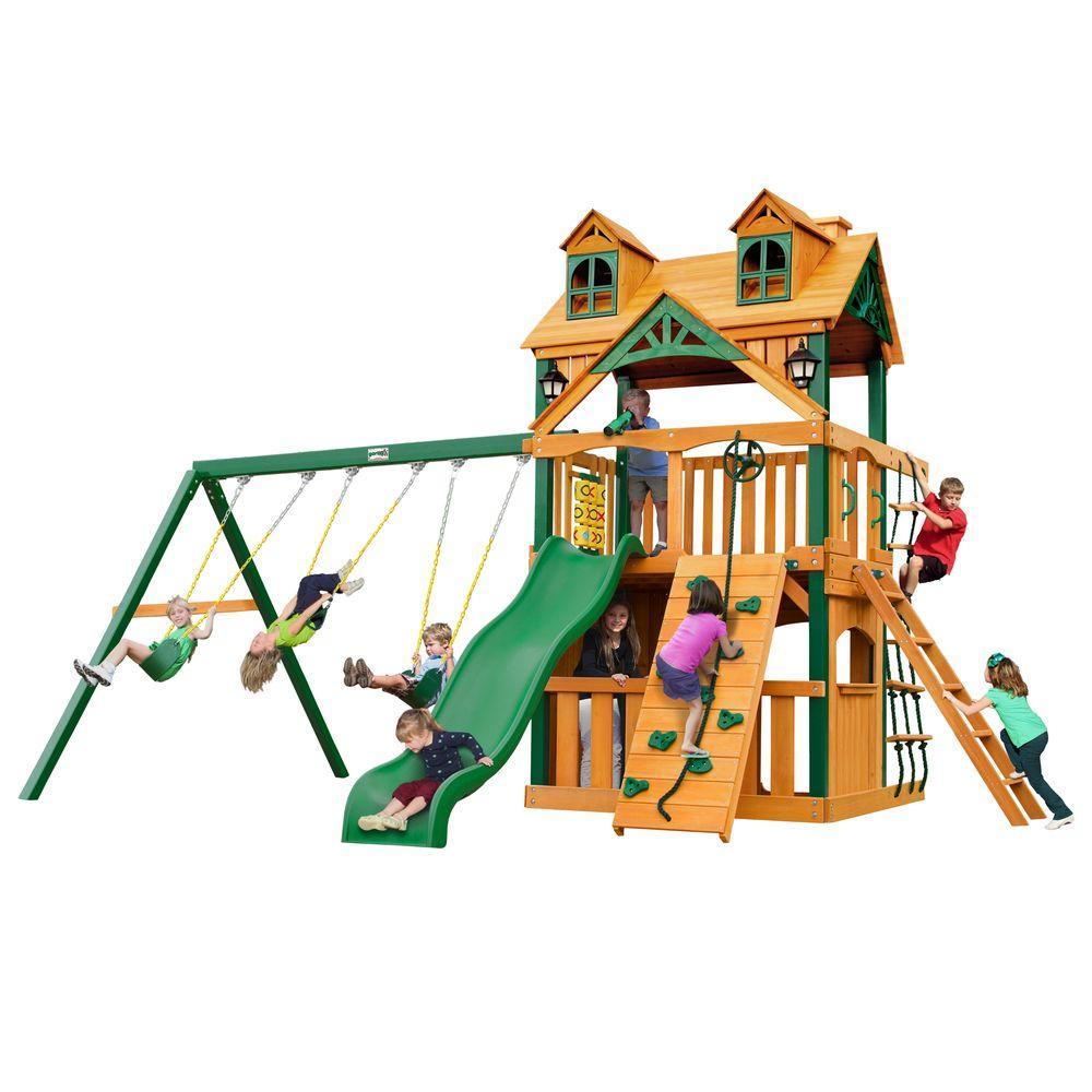 gorilla playsets malibu clubhouse with timber shield cedar swing