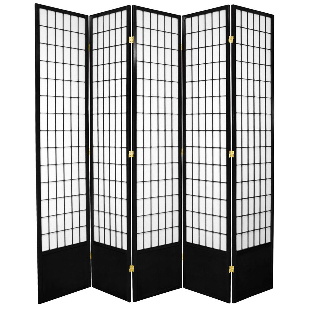 7 ft. Black 5-Panel Room Divider