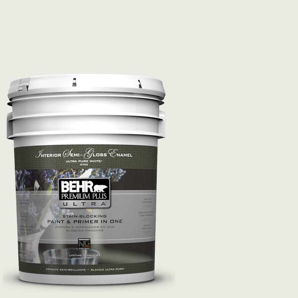 BEHR Premium Plus Ultra 5-gal. #W-F-720 Silver Leaf Semi-Gloss Enamel Interior Paint