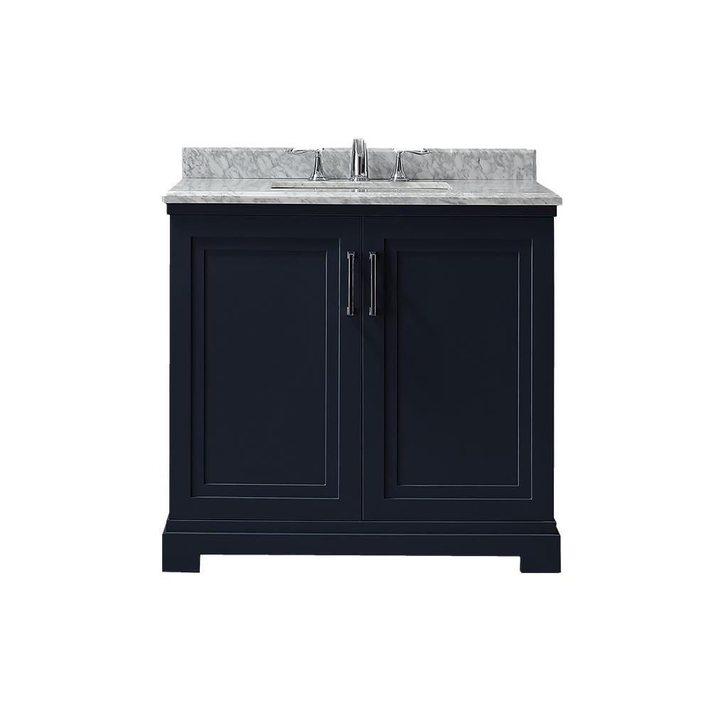 Martha Stewart Living Lynn 36 in. W x 22 in. D Vanity in Midnight Blue with Marble Vanity Top in White with White Basin