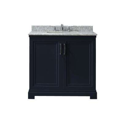 Lynn 36 in. W x 22 in. D Vanity in Midnight Blue with Marble Vanity Top in White with White Basin