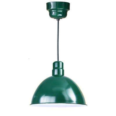 1-Light Outdoor Hanging Green Deep Bowl Pendant with Wire Guard
