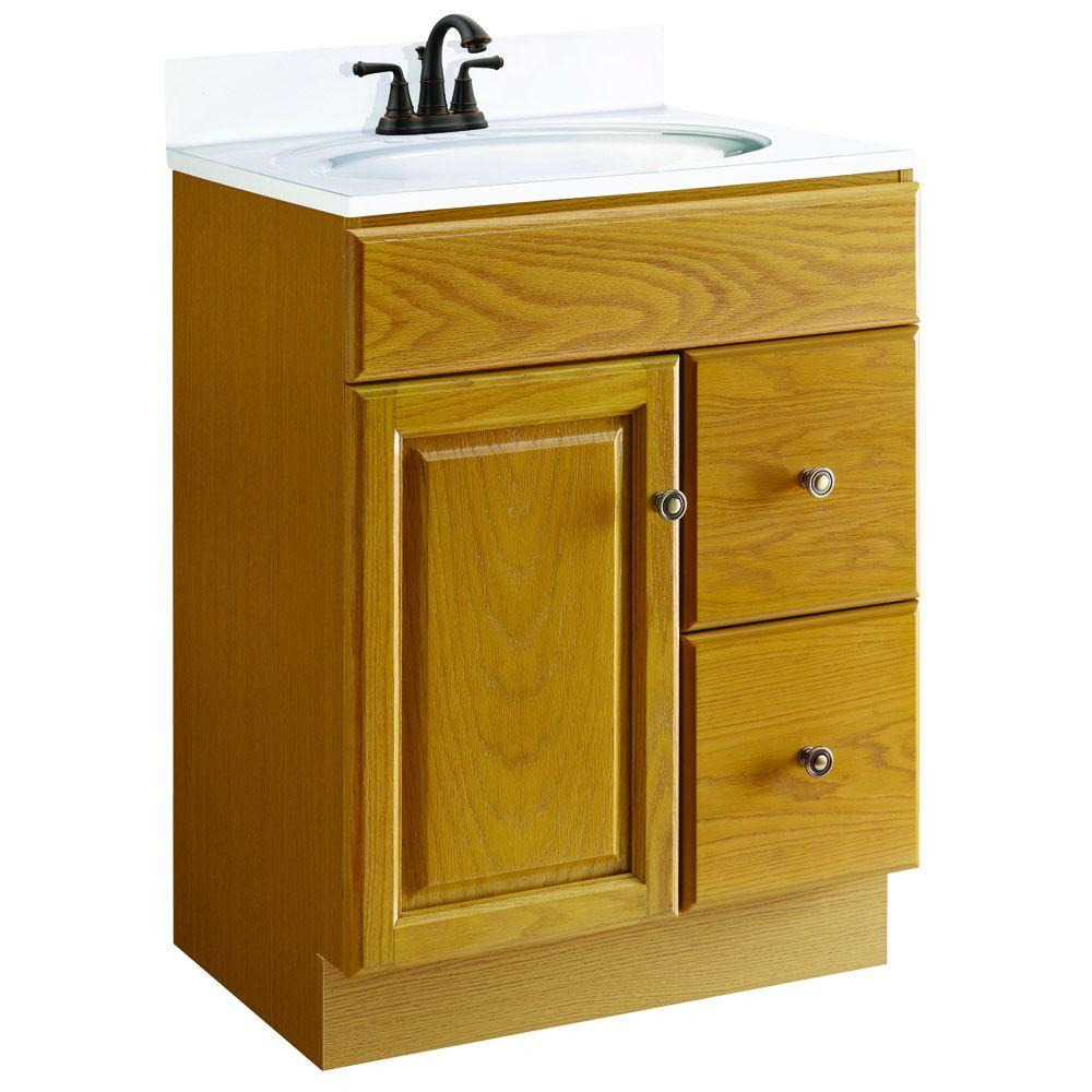 Design House Claremont 24 in. W x 18 in. D Unassembled Vanity Cabinet Only in Honey Oak