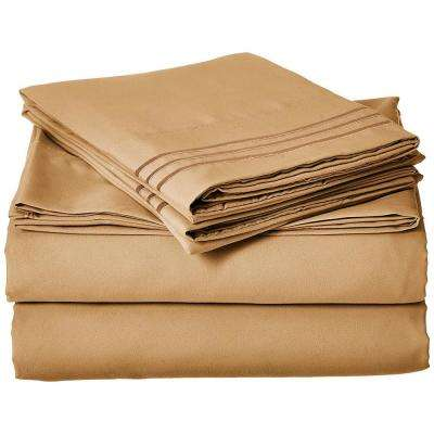 1500 Series 4-Piece Gold Triple Marrow Embroidered Pillowcases Microfiber King Size Camel Bed Sheet Set