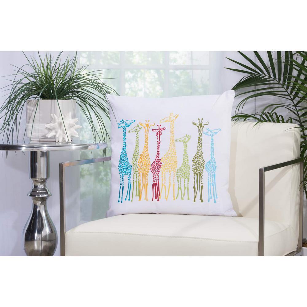 Giraffes 20 in. x 20 in. Multicolor Indoor and Outdoor Pillow