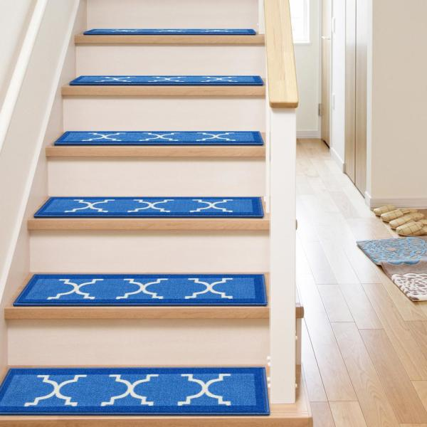 Well Woven Kings Court Brooklyn Trellis Blue Modern Lattice Rubber Back Non Skid 9 In X 31 In Stair Tread Cover Set Of 7 6516 Ste The Home Depot