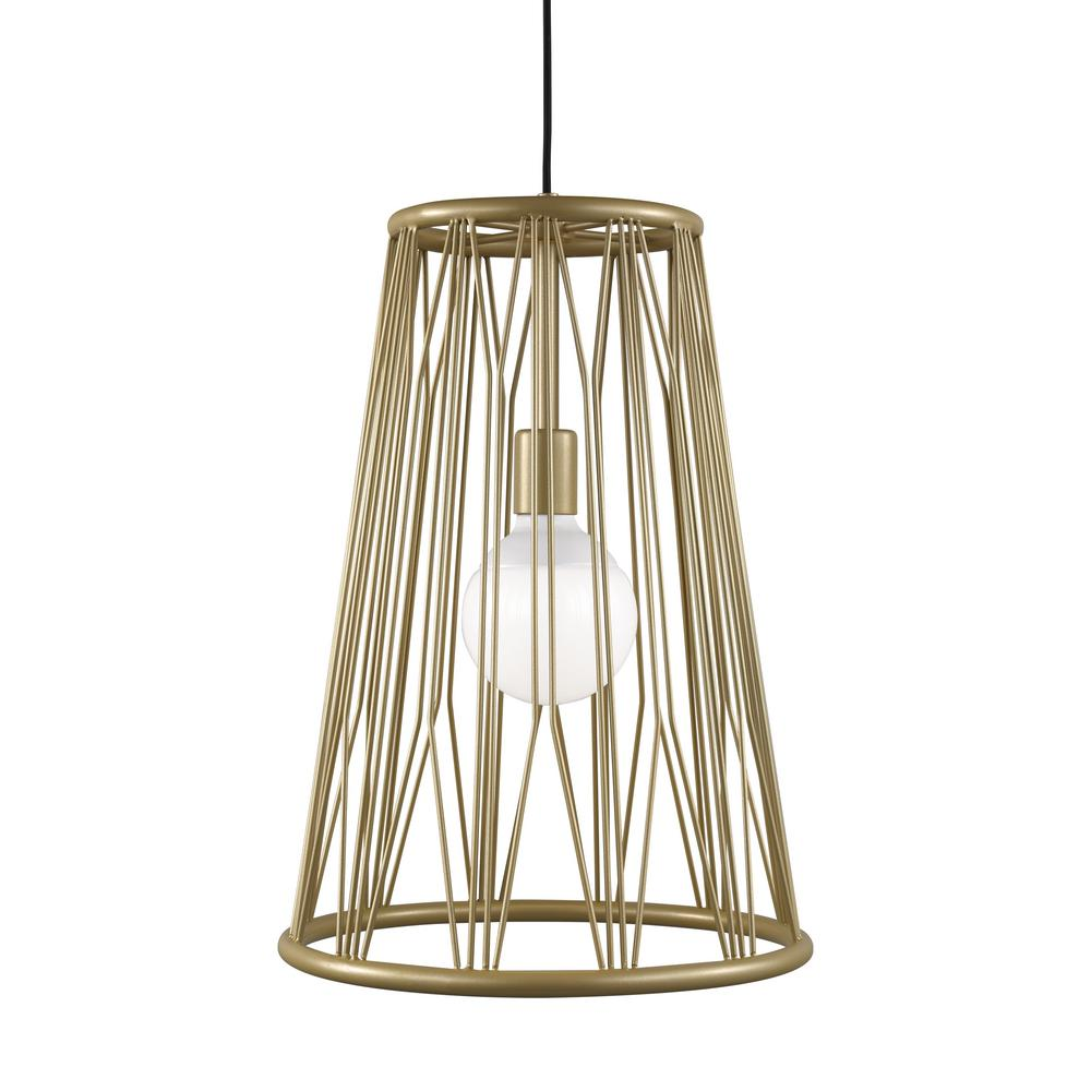 LBL Lighting Diamant 1-Light Satin Gold Pendant with LED Bulb The Diamant pendant light by LBL Lighting features fascinating lines that have been shaped into an artful design. Light spills through the caged shade creating a fascinating lighting experience in any space. This unique pendant scales at 14.4 in length and 14.4 in width making it ideal for kitchen island task lighting, dining room lighting and bedroom lighting flanking two end tables.