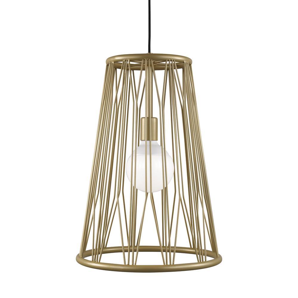 Diamant 1-Light Satin Gold Pendant with LED Bulb
