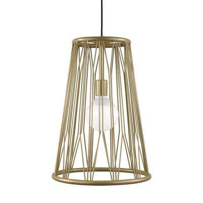 Diamant 1-Light Satin Gold Pendant with LED Bulb